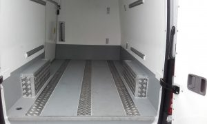 Inside a VW Crafter MWB fridge with back doors open