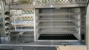Shelves and storage in a hot and cold catering Jiffy Van