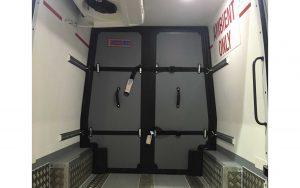 Inside Pharmaceutical Sprinter Van with Bulkhead