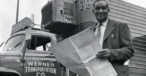 Frederick McKinley Jones standing next to a refrigerated van circa 1950