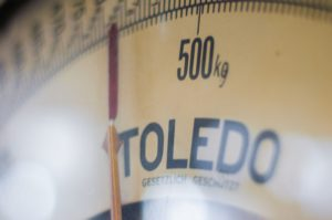 a scale showing weight