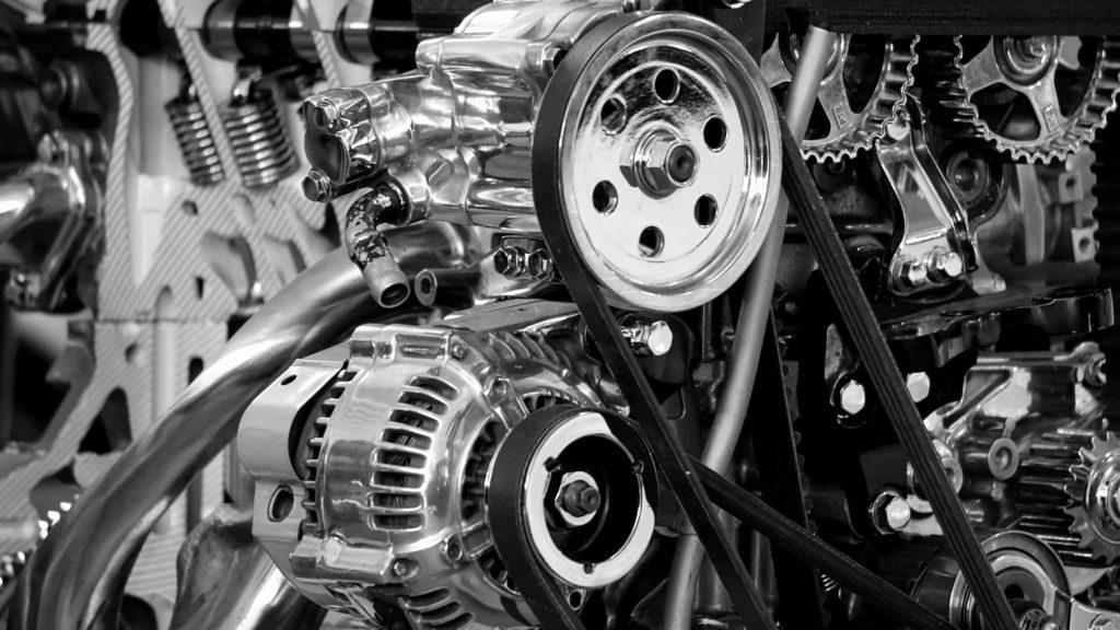 A car engine on display