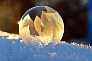 soap bubble sat in freezing cold ice with leaves in