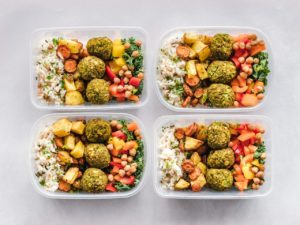 Prepared food in delivery containers