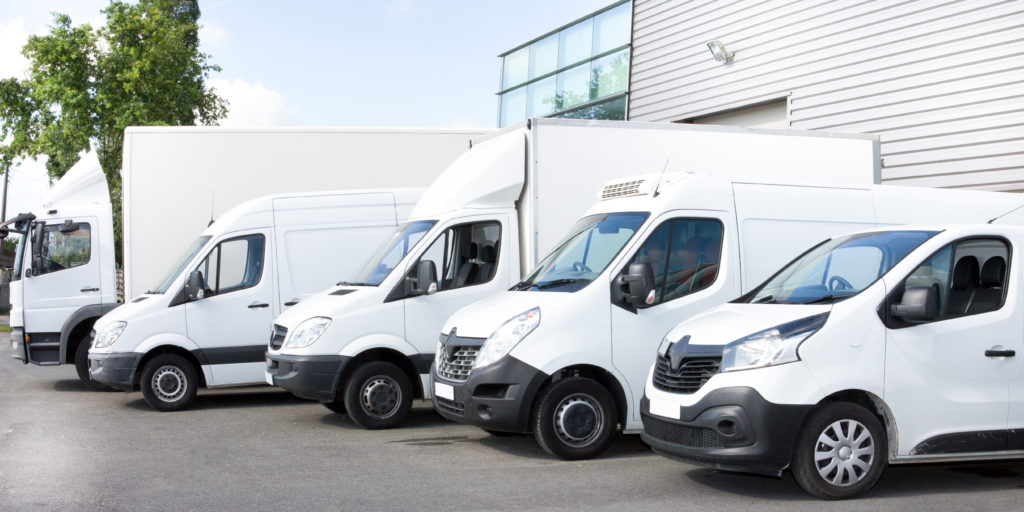 a fleet of different vans