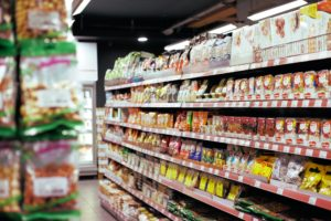 Food on the shelves in a supermarket ready to be delivered by cool running rental